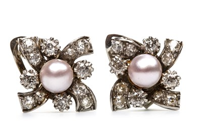 Lot 31-A PAIR OF PINK PEARL AND DIAMOND EARRINGS