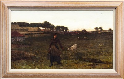Lot 454-WOMAN IN A RURAL LANDSCAPE, AN OIL BY JAMES CAMPBELL NOBLE
