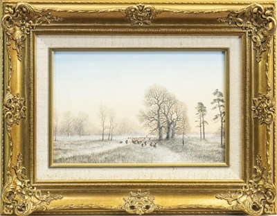 Lot 455-SHEEP IN WINTER, AN OIL BY NICOLAS MACE
