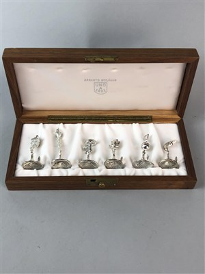 Lot 142-A CASED SET OF CONTINENTAL SILVER PLACE HOLDERS