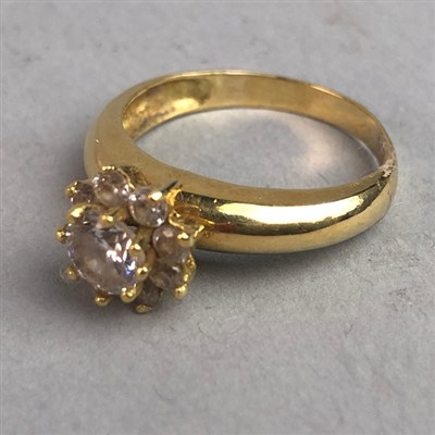 Lot 309-GEM SET CLUSTER RING