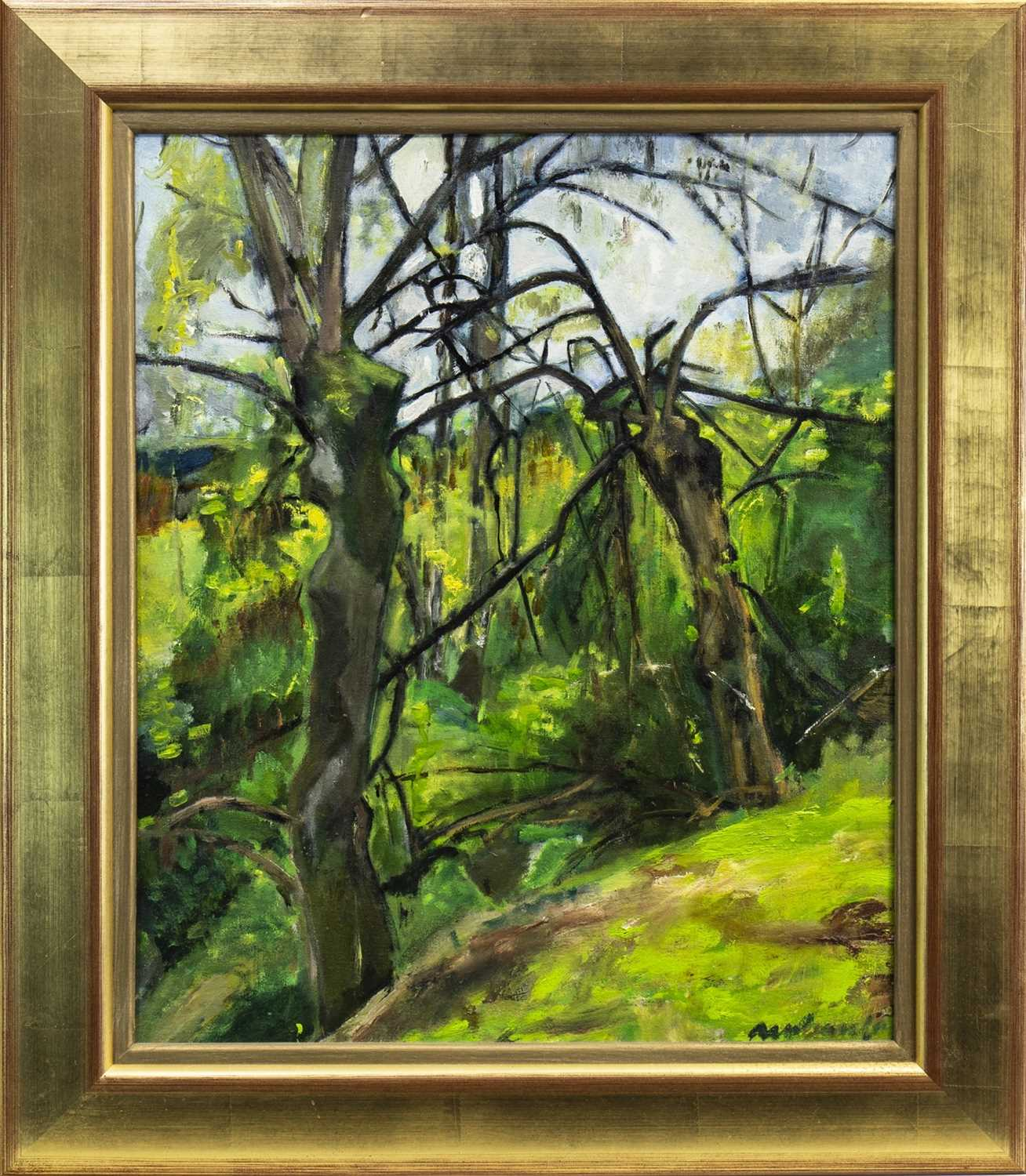 Lot 622-GREEN LANDSCAPE WITH TREES, AN OIL