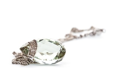 Lot 94-A GREEN GEM AND DIAMOND PENDANT