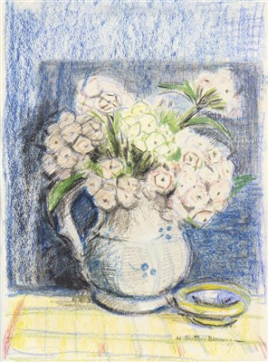 Lot 624-STILL LIFE WITH FLOWERS IN A JUG, A PASTEL BY HELEN PAXTON BROWN