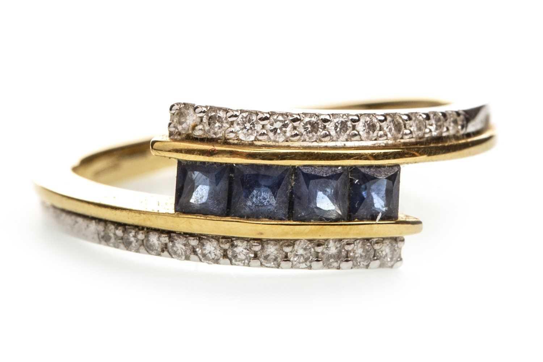 Lot 142-A BLUE GEM SET AND DIAMOND RING