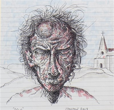 Lot 589-SELF, AN INK AND WASH BY PETER HOWSON