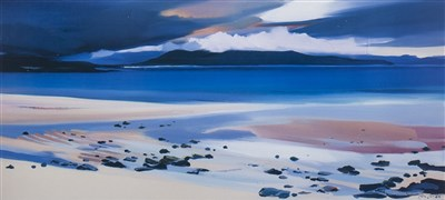 Lot 534-BEACH AT HARRIS, A LITHOGRAPHIC PRINT BY PAM CARTER