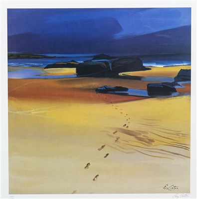 Lot 535-FOOTSTEPS IN THE SAND, A LITHOGRAPHIC PRINT BY PAM CARTER