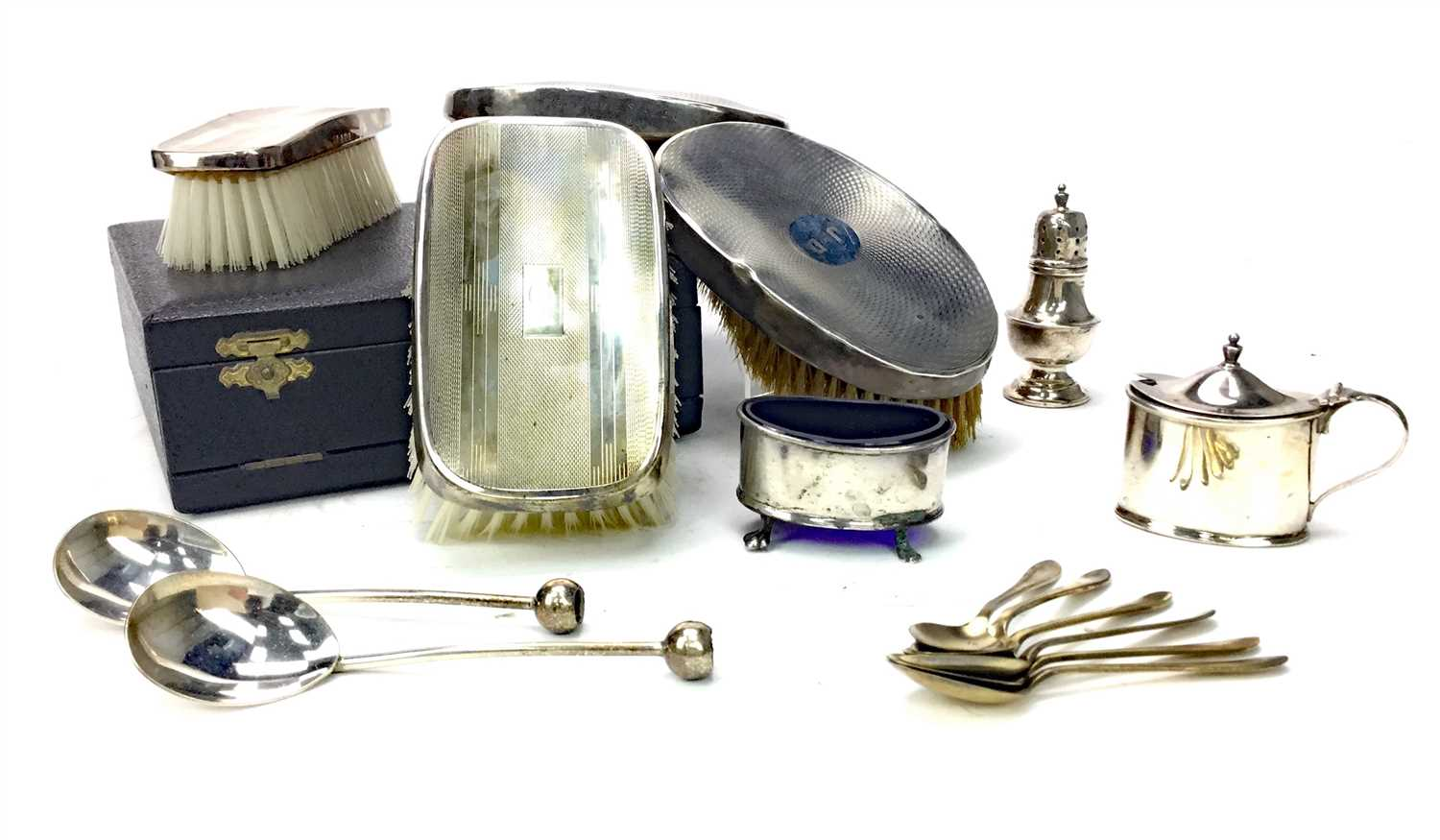 Lot 842-SILVER BRUSH SET, BRUSHES AND CONDIMENTS
