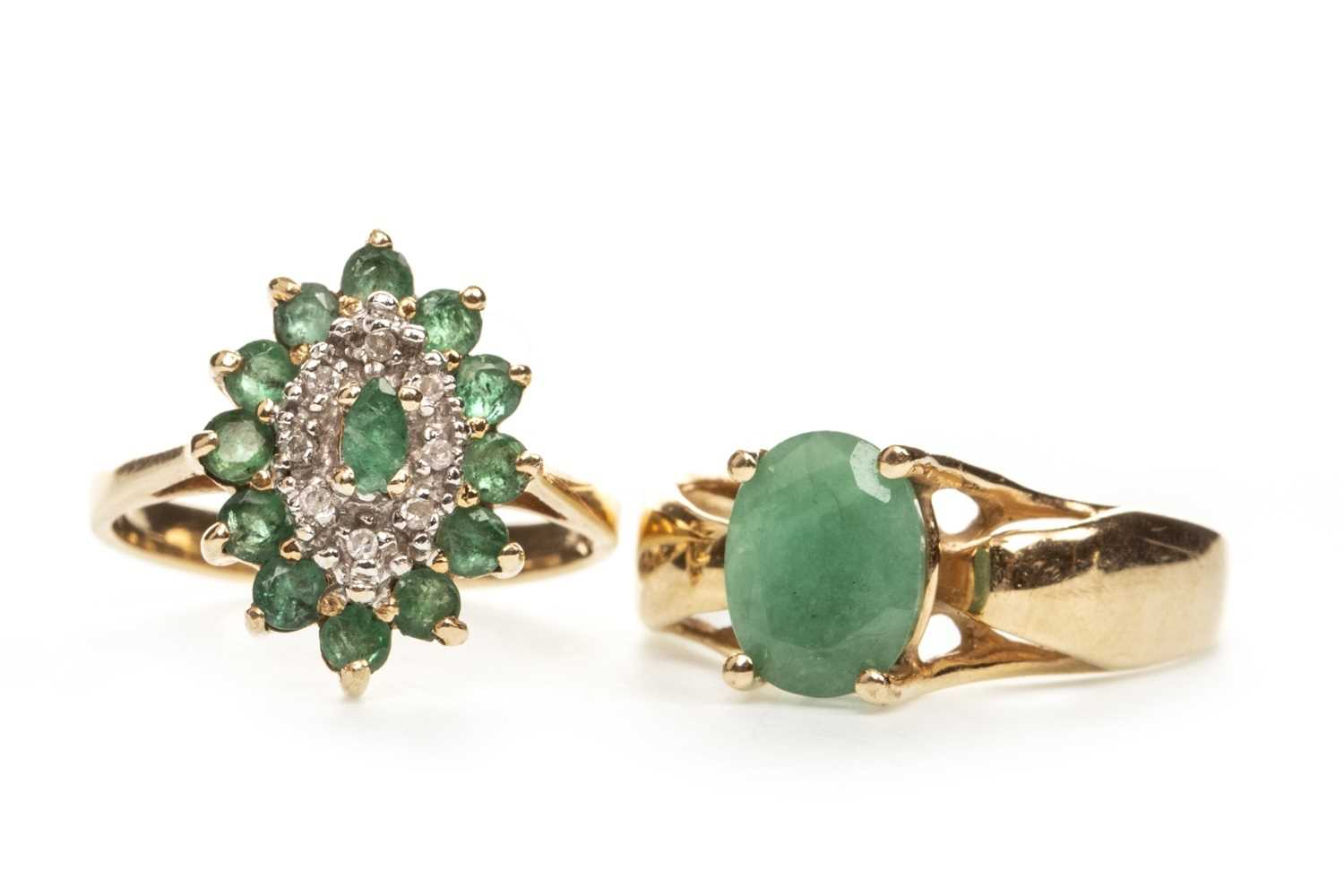 Lot 227-A GREEN GEM AND DIAMOND CLUSTER RING