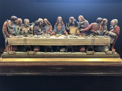 Lot 1233-A LARGE CAPO DI MONTE GROUP OF 'THE LAST SUPPER'