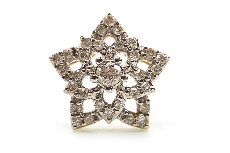 Lot 16-A DIAMOND FLORAL MOTIF PENDANT