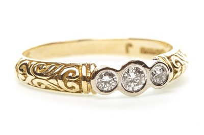 Lot 20-A VICTORIAN STYLE DIAMOND THREE STONE RING