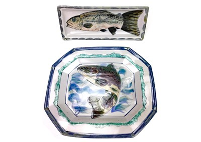 Lot 1213-A HIGHLAND STONEWARE FISH MOTIF SERVING PLATE AND DISH