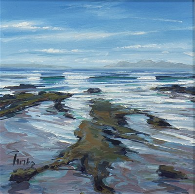 Lot 541-ROCKS AND SHORE, MACHRIHANISH, AN OIL BY TOM BARRON