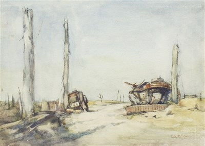 Lot 471-THE DERELICTS AT POELCAPPELLE, A WATERCOLOUR BY EMILY MURRAY PATERSON