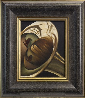 Lot 504-GIRL REFLECTED TWICE IN A TRUMPET, AN OIL BY GRAHAM MCKEAN