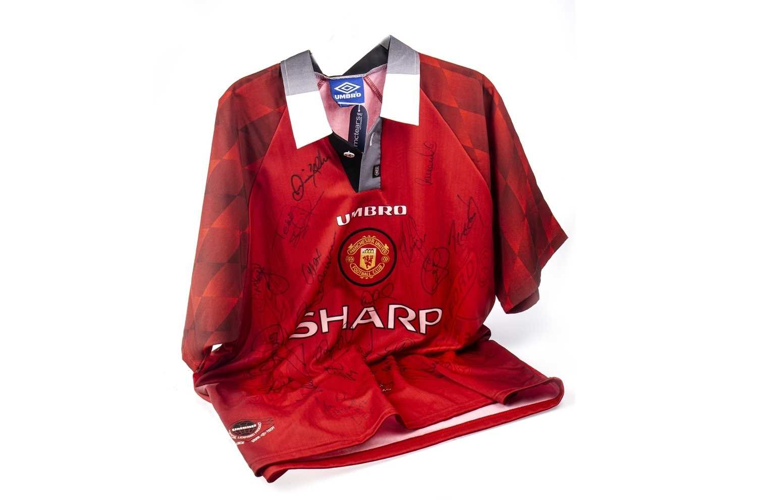 Lot 1806-MANCHESTER UNITED F.C. INTEREST - JERSEY AUTOGRAPHED BY TREBLE WINNING TEAM