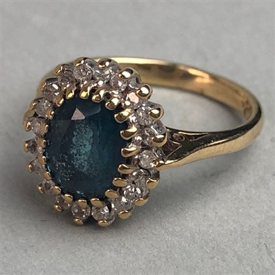 Lot 320-A GEM AND DIAMOND CLUSTER RING
