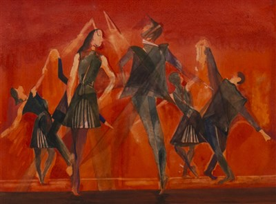 Lot 549-DANCERS, A WATERCOLOUR BY PENNY WHEATLEY