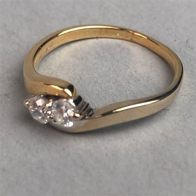 Lot 329-DIAMOND TWO STONE RING