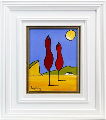 Lot 613-TWO RED TREES TALKING TO THE MOON, AN OIL BY IAIN CARBY