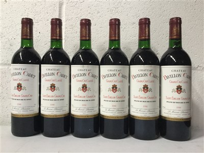 Lot 2028-SIX BOTTLES OF PAVILLON CADET 1990 ST EMILLION