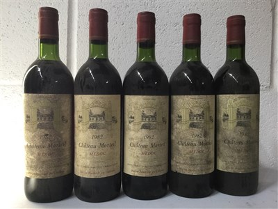 Lot 2031-FIVE BOTTLES OF CHATEAU MORTEIL 1985 MEDOC