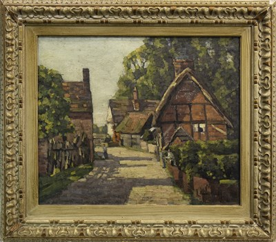 Lot 485-VILLAGE SCENE WITH FIGURES, AN OIL