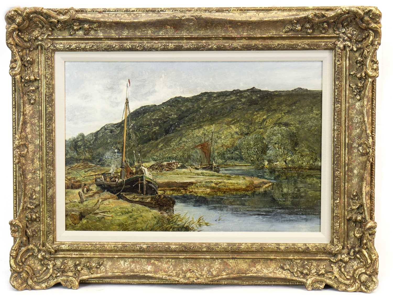 Lot 403-ON THE FALLOCH NEAR INVERARNAN, LOOKING NORTH, AN OIL BY ALEXANDER FRASER, THE YOUNGER