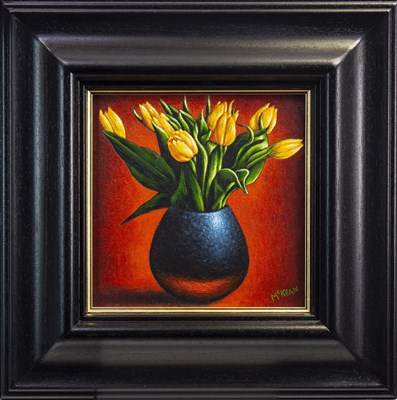 Lot 630-BLUE VASE WITH YELLOW TULIPS, AN OIL BY GRAHAM MCKEAN