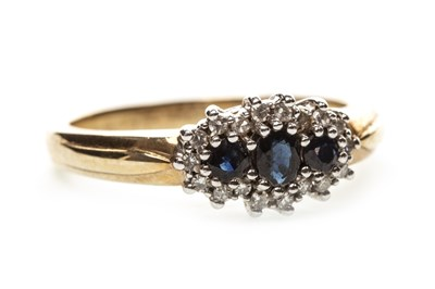 Lot 38-A BLUE GEM AND DIAMOND RING