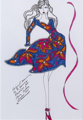Lot 657-ORIGINAL ILLUSTRATION OF DESIGNS FOR LAURA ASHLEY, A PEN ON CARD BY ROZ JENNINGS