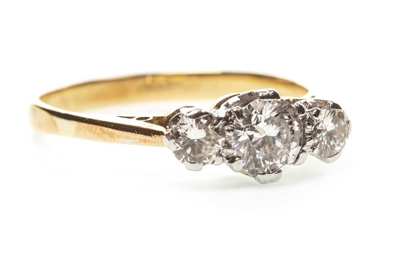 Lot 7-A DIAMOND THREE STONE RING