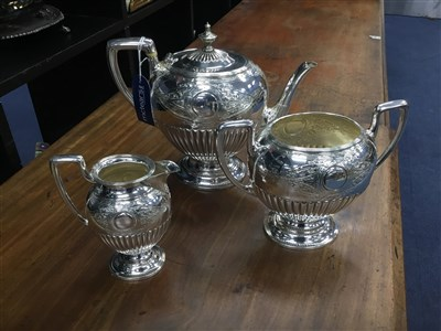 Lot 26-A VICTORIAN PLATED TEA SERVICE AND OTHER PLATED WARES