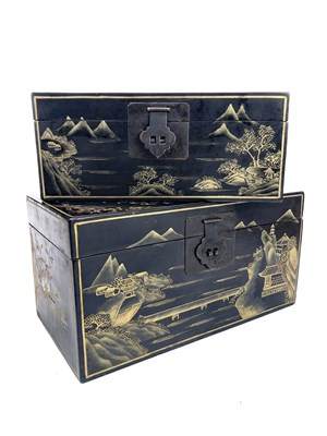 Lot 1038-A CHINESE GRADUATED SET OF THREE LACQUERED CASKETS