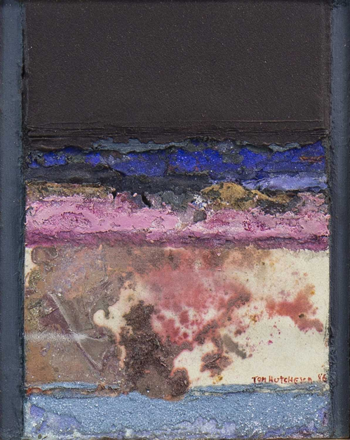 Lot 698-MOTTLED RED LANDSCAPE, A MIXED MEDIA BY TOM HUTCHESON