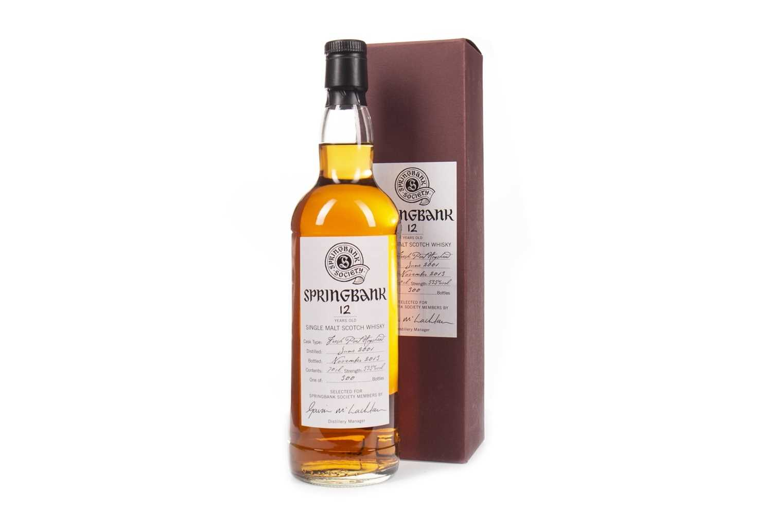 Lot 21-SPRINGBANK 2001 AGED 12 YEARS SOCIETY BOTTLING