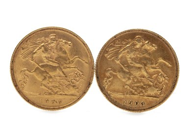 Lot 524-TWO GOLD HALF SOVEREIGNS, 1903 AND 1905