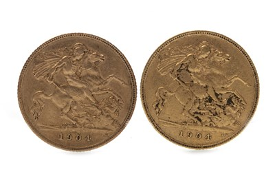 Lot 525-TWO GOLD HALF SOVEREIGNS, 1904