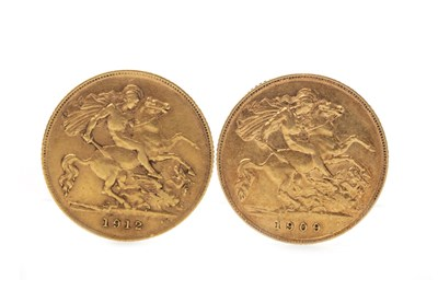 Lot 526-TWO GOLD HALF SOVEREIGNS, 1909 AND 1912