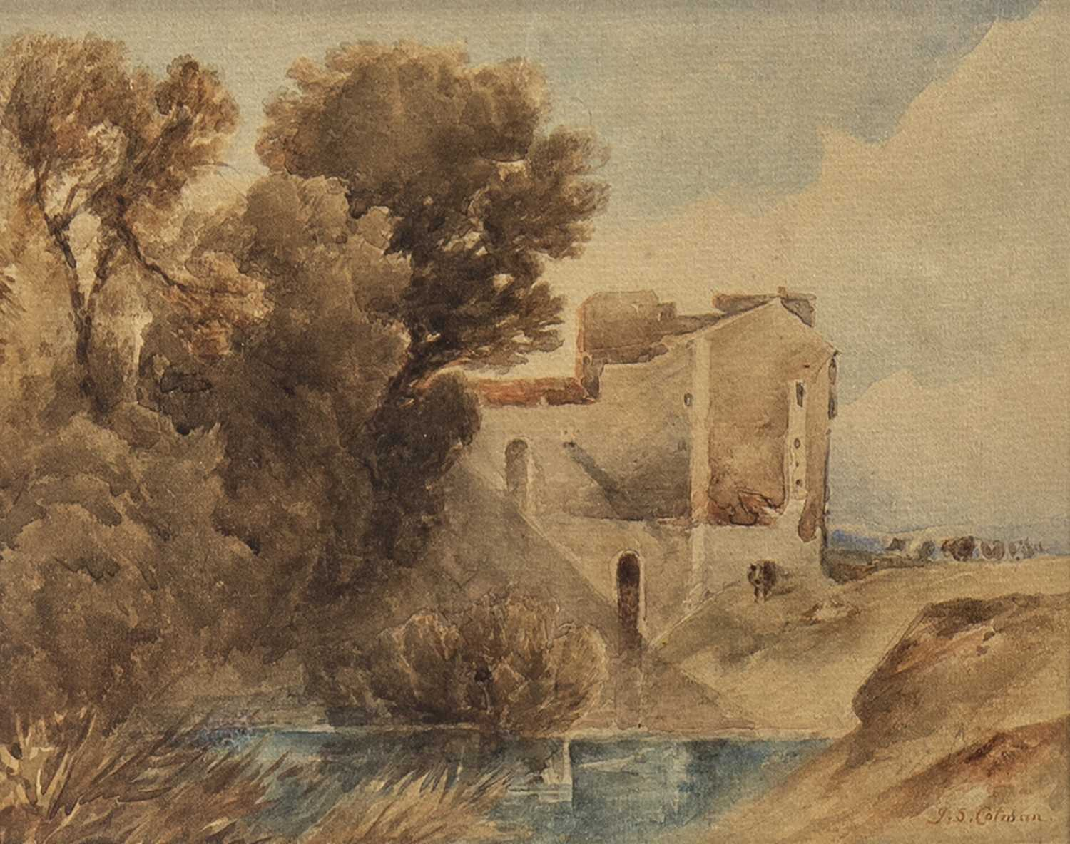 Lot 401-CASTLE BY A RIVER, A WATERCOLOUR BY JOHN SELL COTMAN