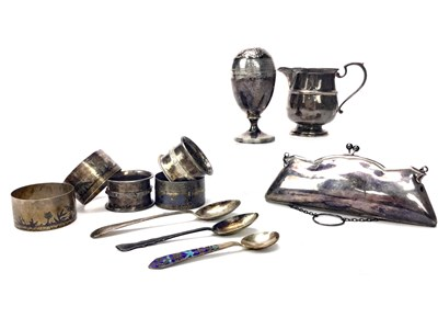 Lot 851 - A GEORGE V SILVER PURSE ALONG WITH SILVER TABLEWARE