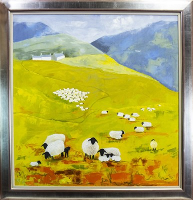 Lot 501-LAMBING TIME, AN OIL BY ROWENA LAING