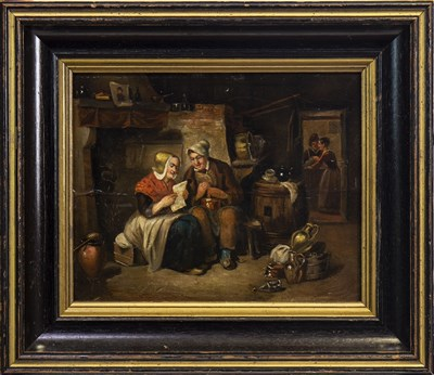 Lot 471-INTERIOR SCENE WITH FOUR FIGURES, AN OIL IN THE CIRCLE OF DAVID TENIERS