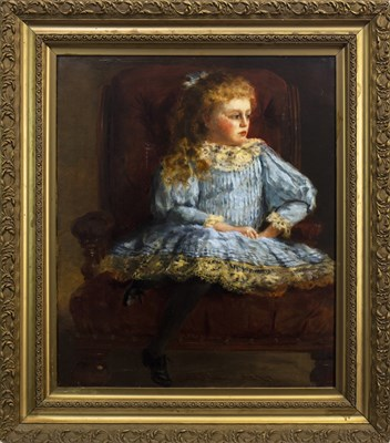 Lot 478-YOUNG GIRL IN A BLUE DRESS, AN OIL BY S ADAMS