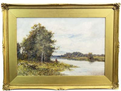 Lot 497-AN ANGLER ON THE HAMPSHIRE AVON, AN OIL BY DANIEL SHERRIN