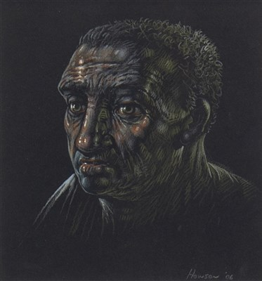 Lot 502-END OF THE NIGHT  SHIFT, A PASTEL BY PETER HOWSON