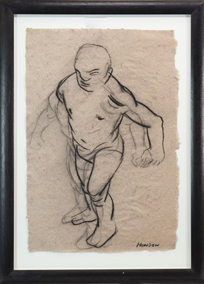 Lot 506-FIGURE STUDY, A CHARCOAL BY PETER HOWSON