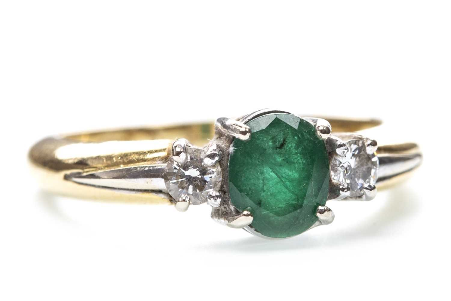 Lot 181-A GREEN GEM AND DIAMOND RING